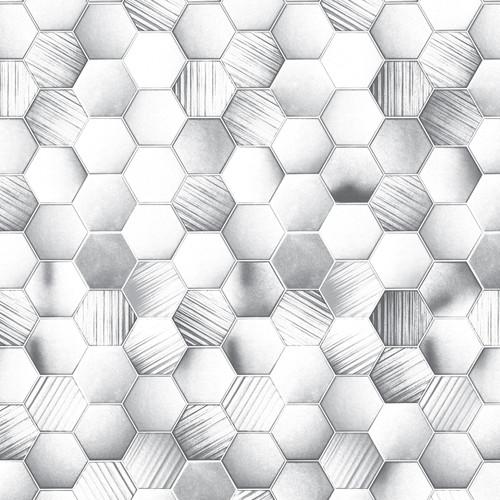 Hexagonal Tile White Premium Wet Wall Panel - 1 Metre
