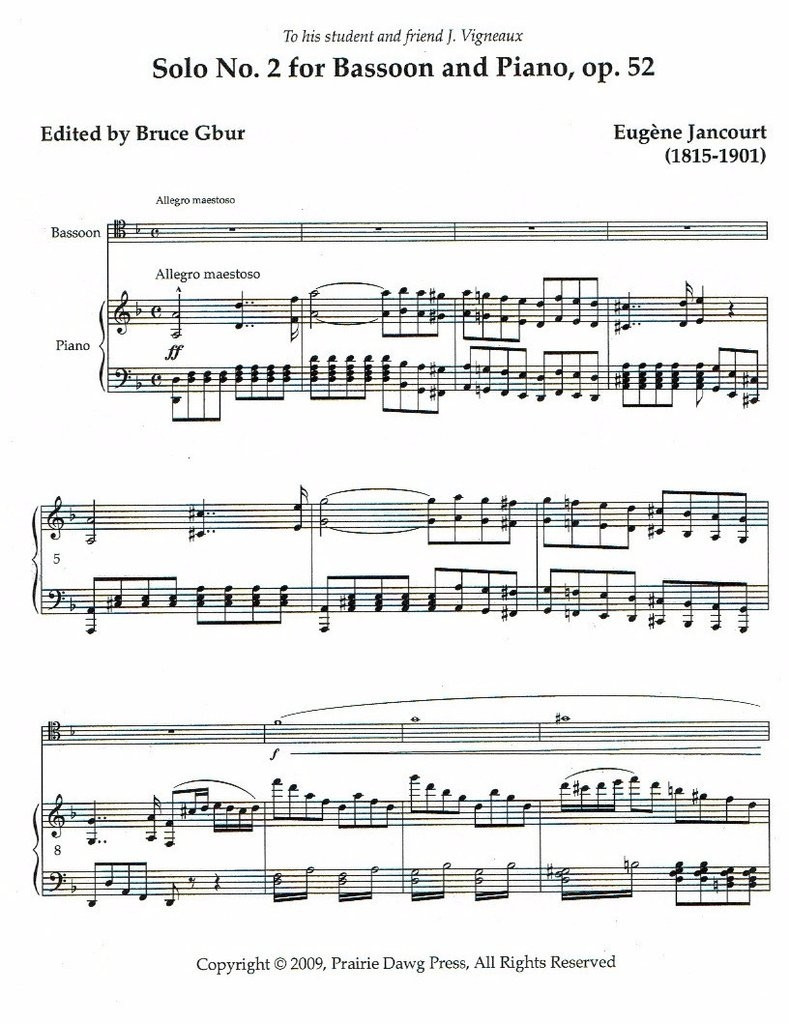 Solo No. 2 for Bassoon and Piano, op. 52