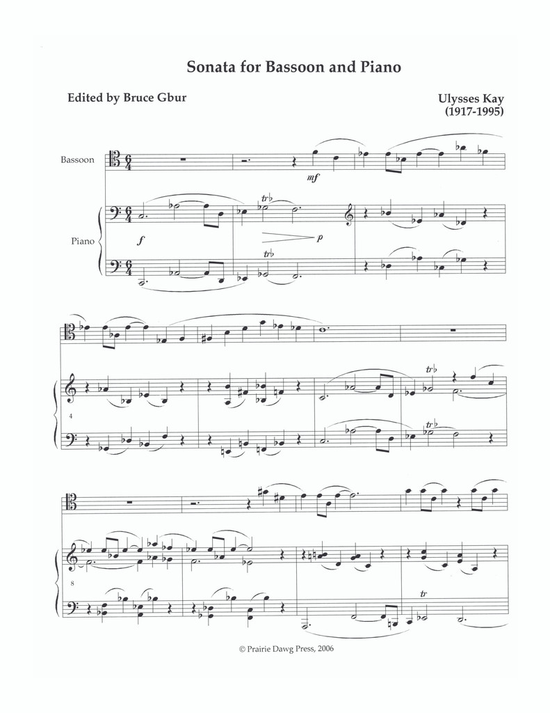 Sonata for Bassoon and Piano (PDP003)