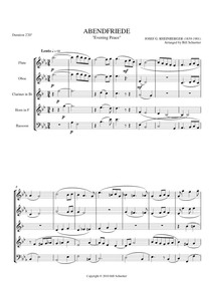 ABENDFRIEDE (WOODWIND QUINTET) (download)