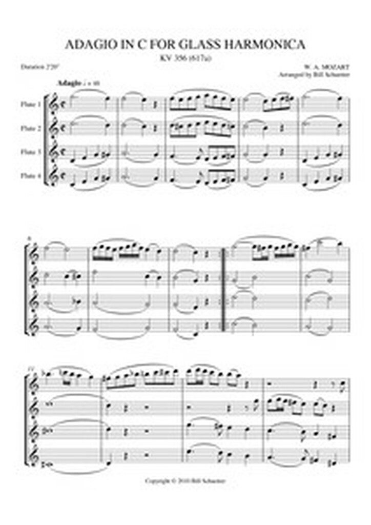 ADAGIO FOR GLASS HARMONICA (for flute quartet) (download)