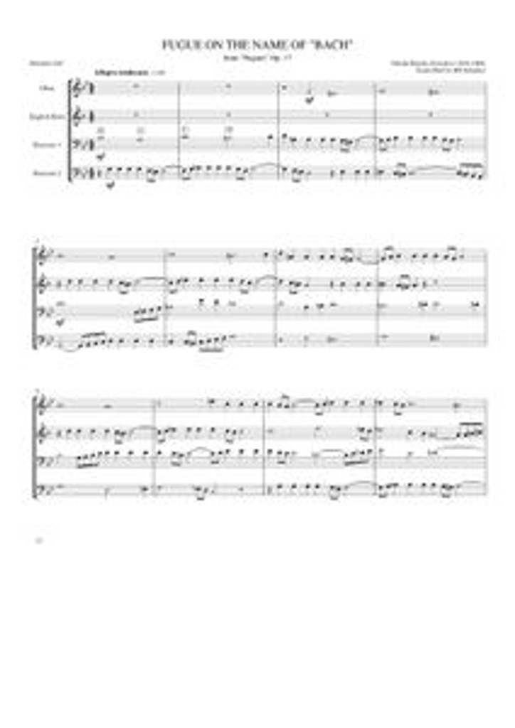 """FUGUE ON THE NAME OF """"BACH,"""" OP. 17 (Ob, Eh, 2 Bsn)"""