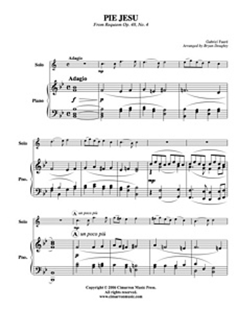 Pie Jesu (Clarinet Solo) (Download)