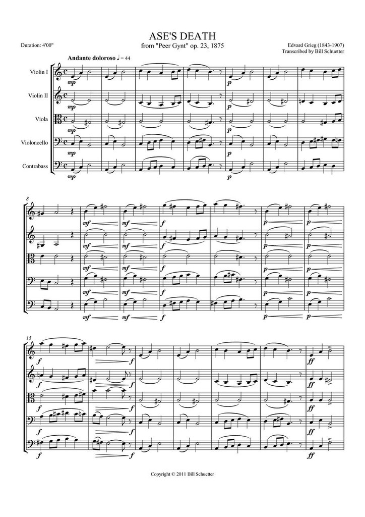 """ASE'S DEATH FROM """"PEER GYNT"""" (string quintet)"""