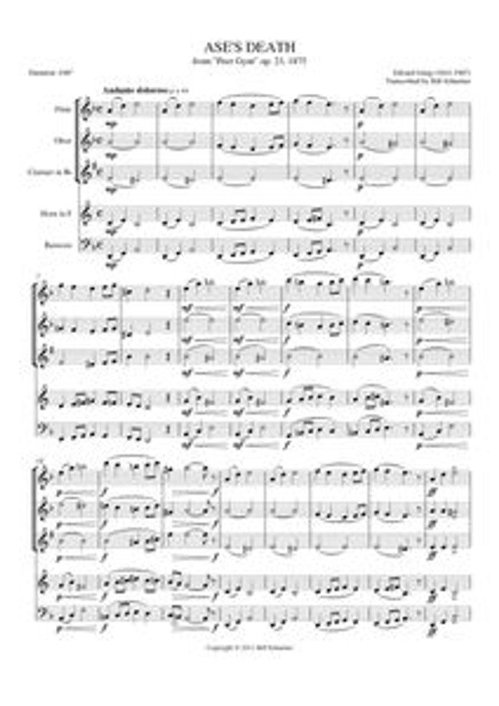 """ASE'S DEATH FROM """"PEER GYNT"""" (woodwind quintet)"""