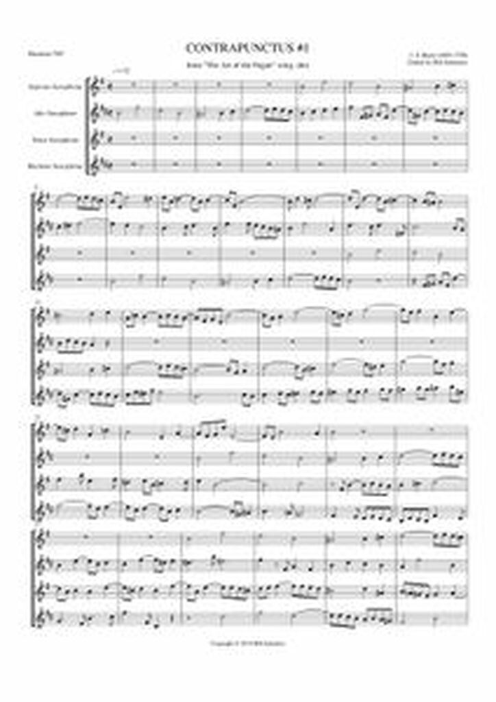 CONTRAPUNCTUS I: ART OF THE FUGUE (sax quartet) (download)