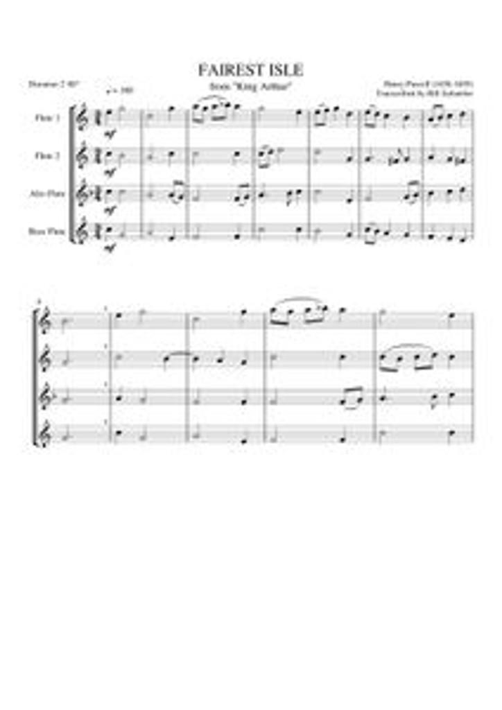 """FAIREST ISLE FROM """"KING ARTHUR"""" (flute quartet) (download)"""