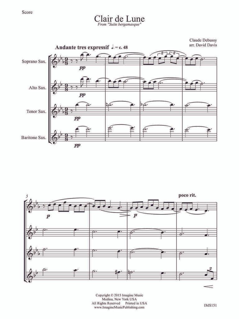 Clair de Lune (sax quartet) (download)