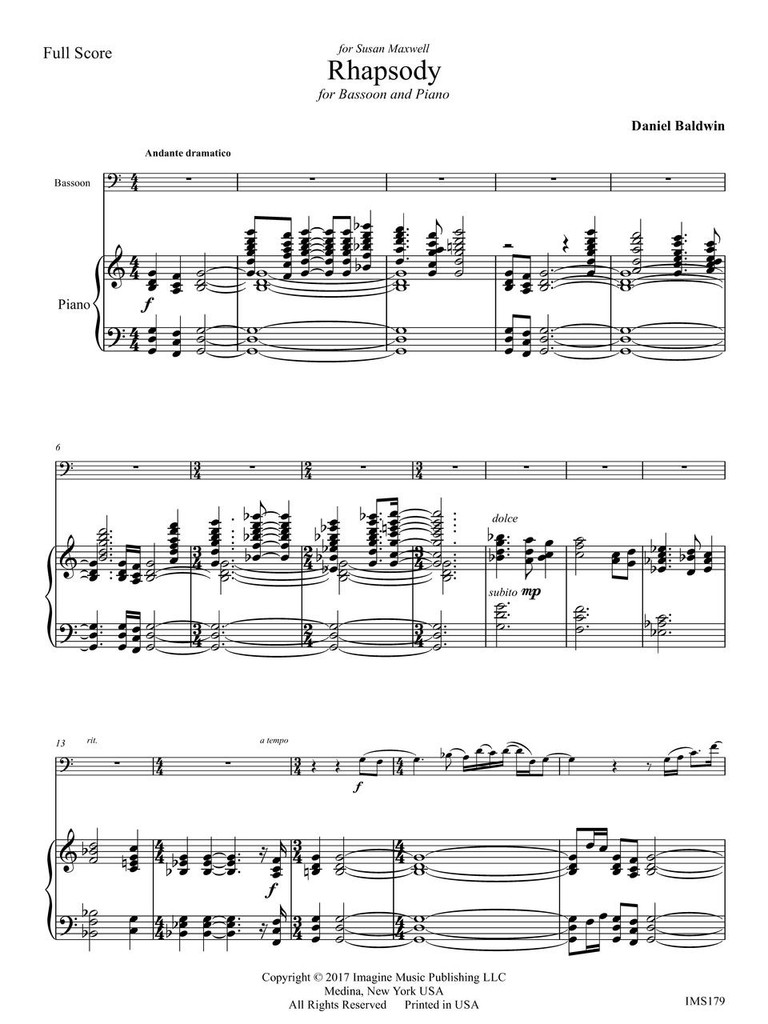 Rhapsody for Bassoon & Piano (download)