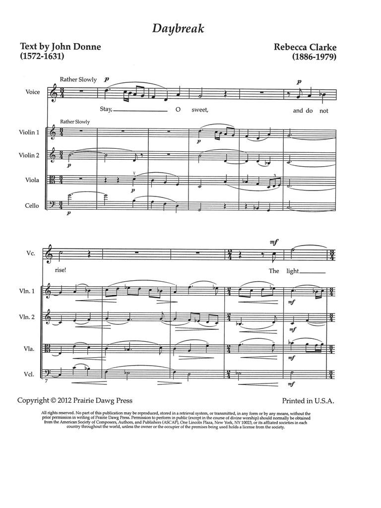 Daybreak (Voice & String Quartet)(download)