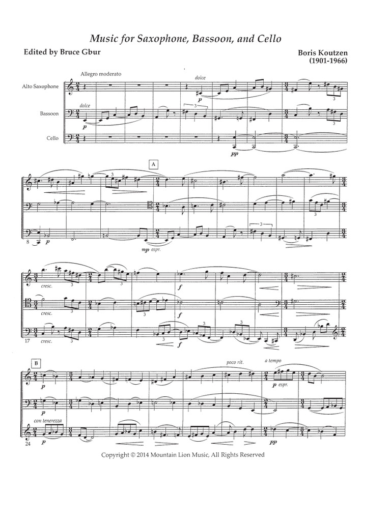 Music for Saxophone, Bassoon, and Cello