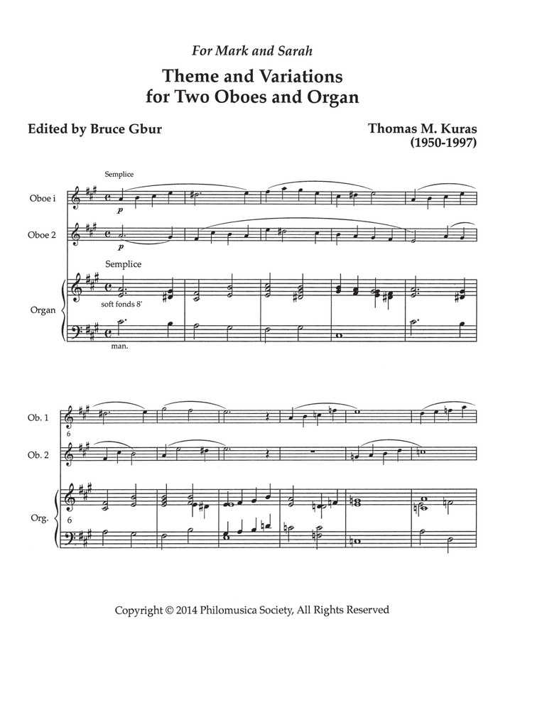 Theme and Variations for Two Oboes and Organ (download)
