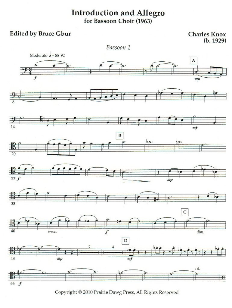 Introduction and Allegro (Bassoon Choir)(download)