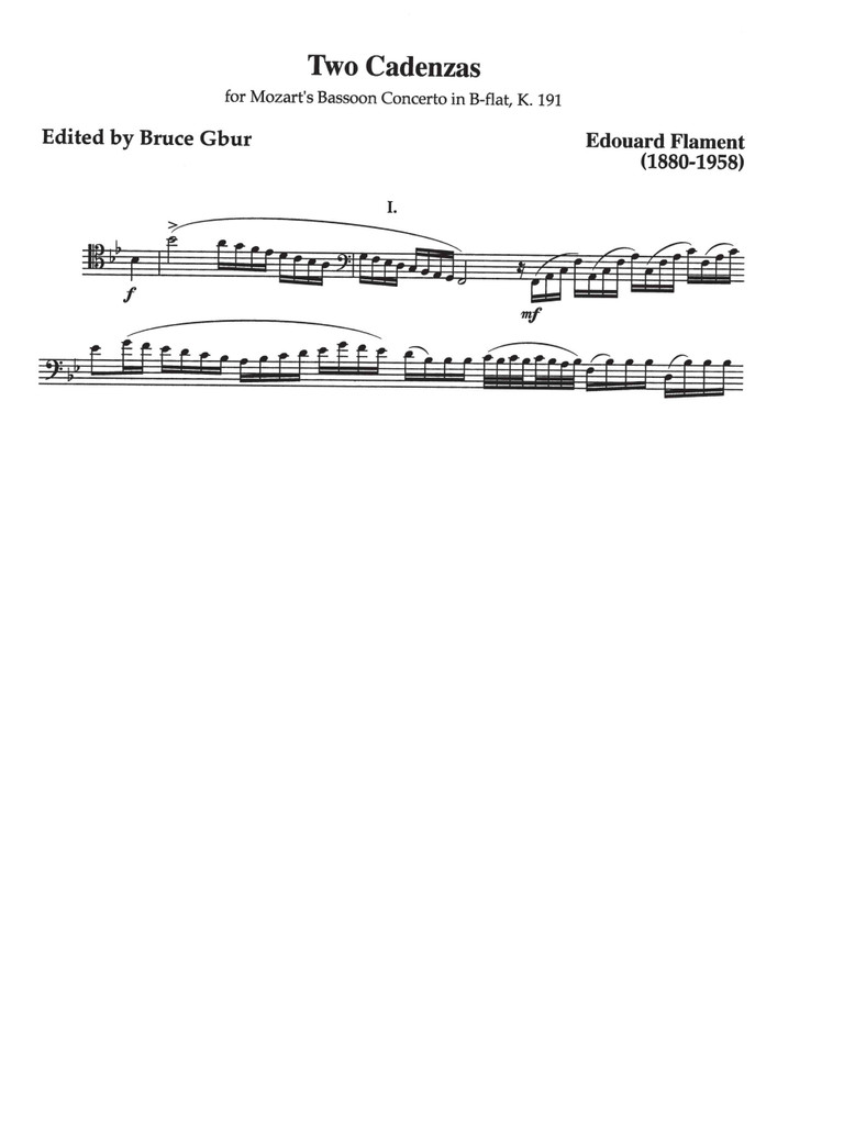 Cadenzas for the Mozart Bassoon Concerto, K. 191 (download)