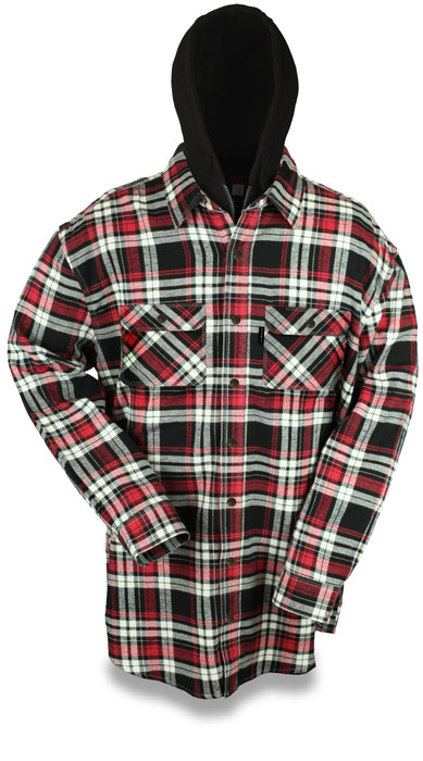 Snap Front Lined Hooded 9oz Flannel Jacket w/ Zipper Closer