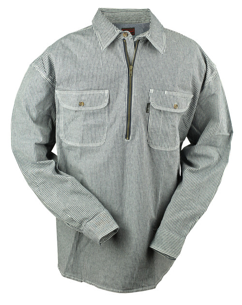Hickory Stripe Flex 1/2 Zip Logger Shirt