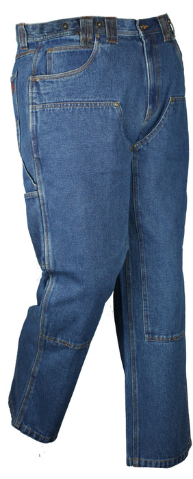 14oz Denim Stone Washed Logger Dungaree W/ Chaps and Suspender Buttons