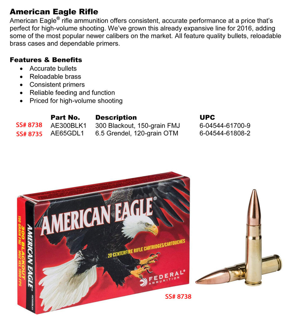 Federal American Eagle 300 AAC BLK Spec Sheet