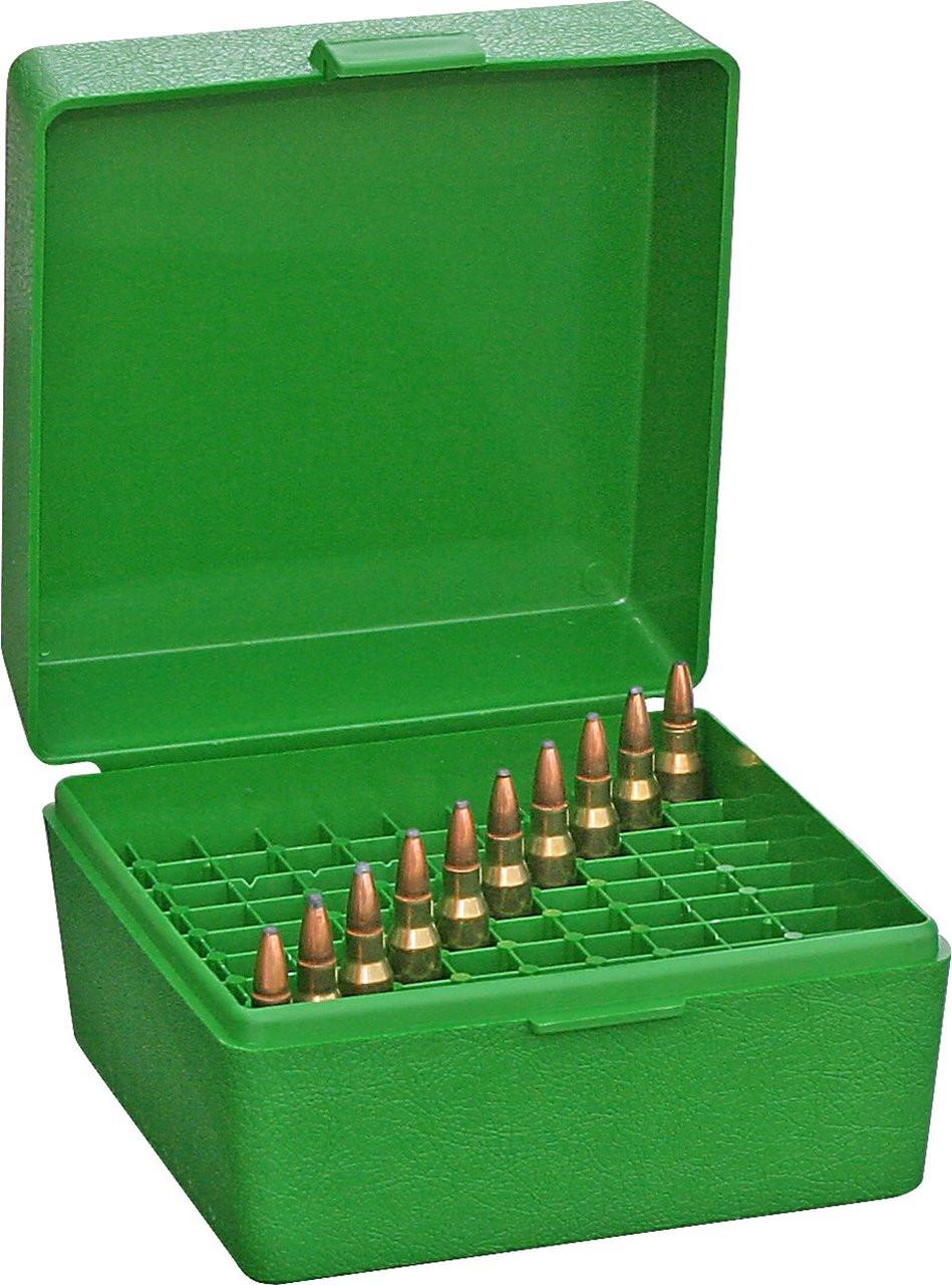 NEW RM-100-10 243 Green 308 W MTM 100 Round Flip-Top Rifle Ammo Box 22-25