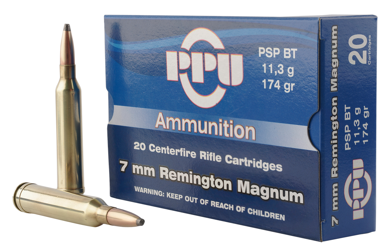 PPU Standard Rifle, 7mm Rem Mag, 174 Grain, PSP, 20 Rounds
