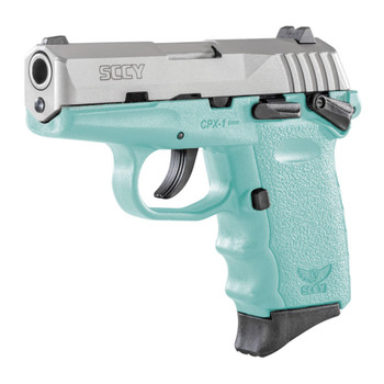 SCCY Industries Firearms CPX-1 Robin Egg Blue Polymer Frame with Stainless Steel Slide, Thumb Safety