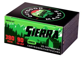 Sierra Outdoor Master, .380 ACP, 90 Grain, JHP Sport Master, 20 Rounds