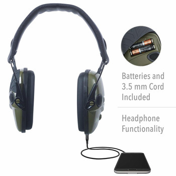 Howard Leight by Honeywell Impact Sport Sound Amplification Electronic Shooting Earmuff, Classic Green (R-01526)