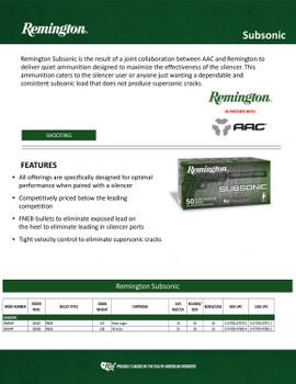 Remington AAC Subsonic 45 Auto Details