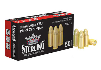 Sterling Ammunition, 9mm Luger, 115 Grain, FMJ, 50 Rounds