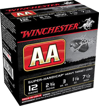 "Winchester  AA Super Handicap 12 Gauge 2.75"" 1 1/8 oz 7.5 Shot 25 Rounds"