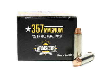 Armscor Precision, .357 Magnum, 125 Grain, Nickel Plated Case, FMJ, 50 Rounds
