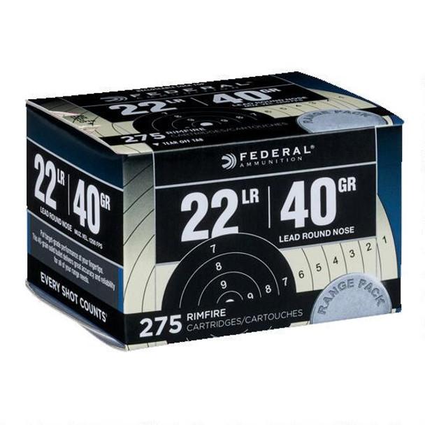 Federal Target Range Pack,  22 LR, 40 Grain, Lead Round Nose (LRN), 275  Rounds