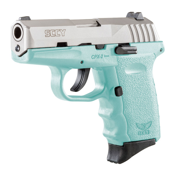 SCCY Industries Firearms CPX-2 Robin Egg Blue Polymer Frame with Stainless Steel Slide, No Safety