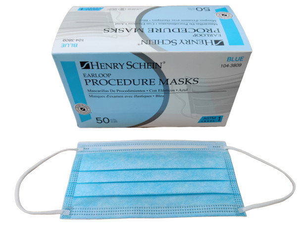 Henry Schein Procedure Face Masks Blue