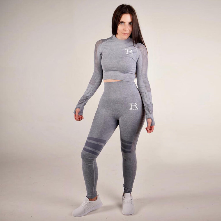 Grey seamless gym top for women | Tirule Ambition Over Everything