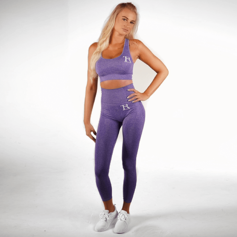 Purple seamless high-waisted gym leggings for women   Ladies and girls gym wear   Manchester, UK activewear and sportswear online store   4 way stretch workout leggings   Yoga exercise pants   Sweat-wicking running leggings   moisture wicking tights   Squat proof leggings   Ankle length gym fashion leggings