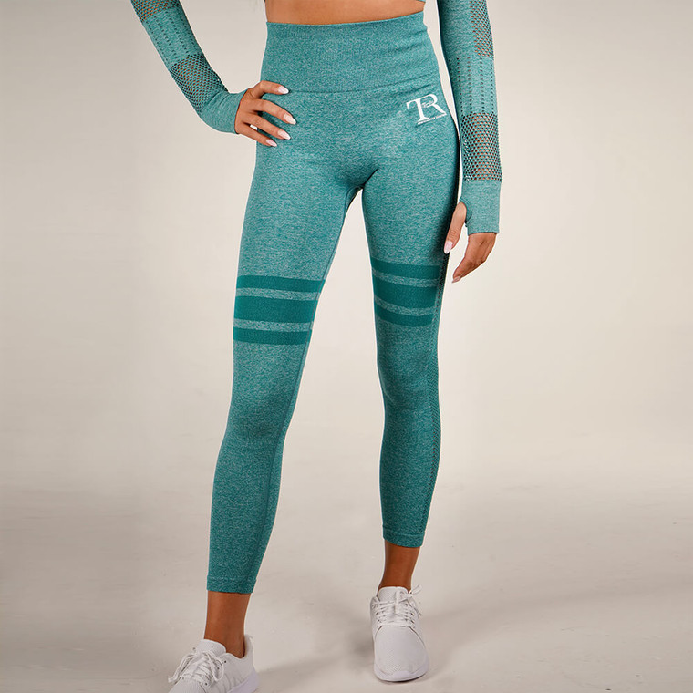 Green seamless high-waisted gym leggings for women   Tirule Ambition Over Everything