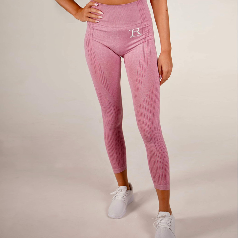 Pink seamless high-waisted gym leggings for women   Tirule Ambition Over Everything