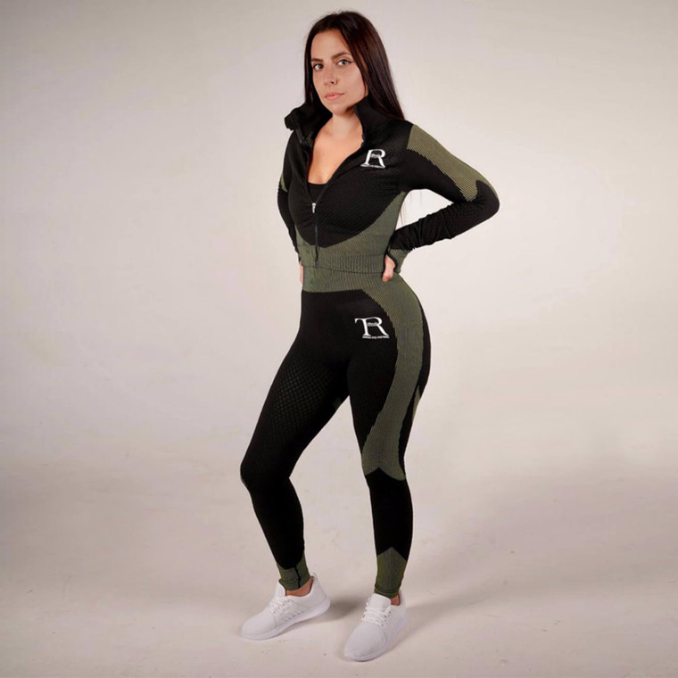 Black and green seamless high-waisted gym leggings set for women | Tirule Ambition Over Everything