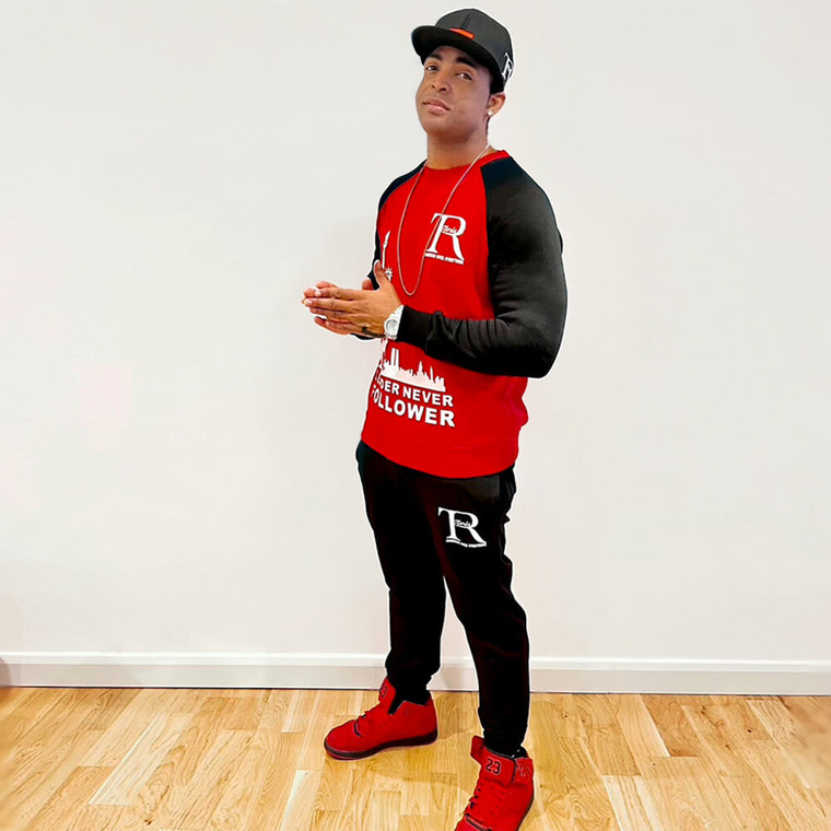 Red and black crewneck sweatshirts for men and women