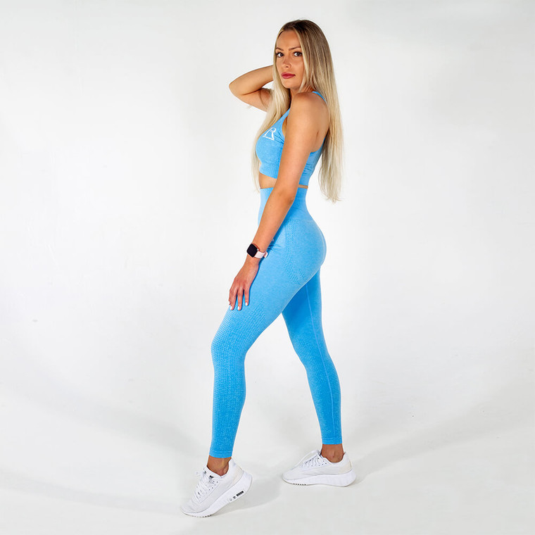 Blue seamless high-waisted gym leggings for women | Ladies and girls gym wear | Manchester, UK activewear and sportswear online store | 4 way stretch workout leggings | Yoga exercise pants | Sweat-wicking running leggings | moisture wicking tights | Squat proof leggings | Ankle length gym fashion leggings