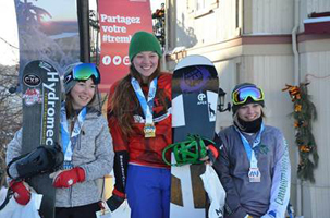 Katie Wilson on the national snowboard championship podium