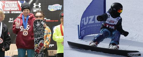 Ed Shred on the national snowboard championship podium