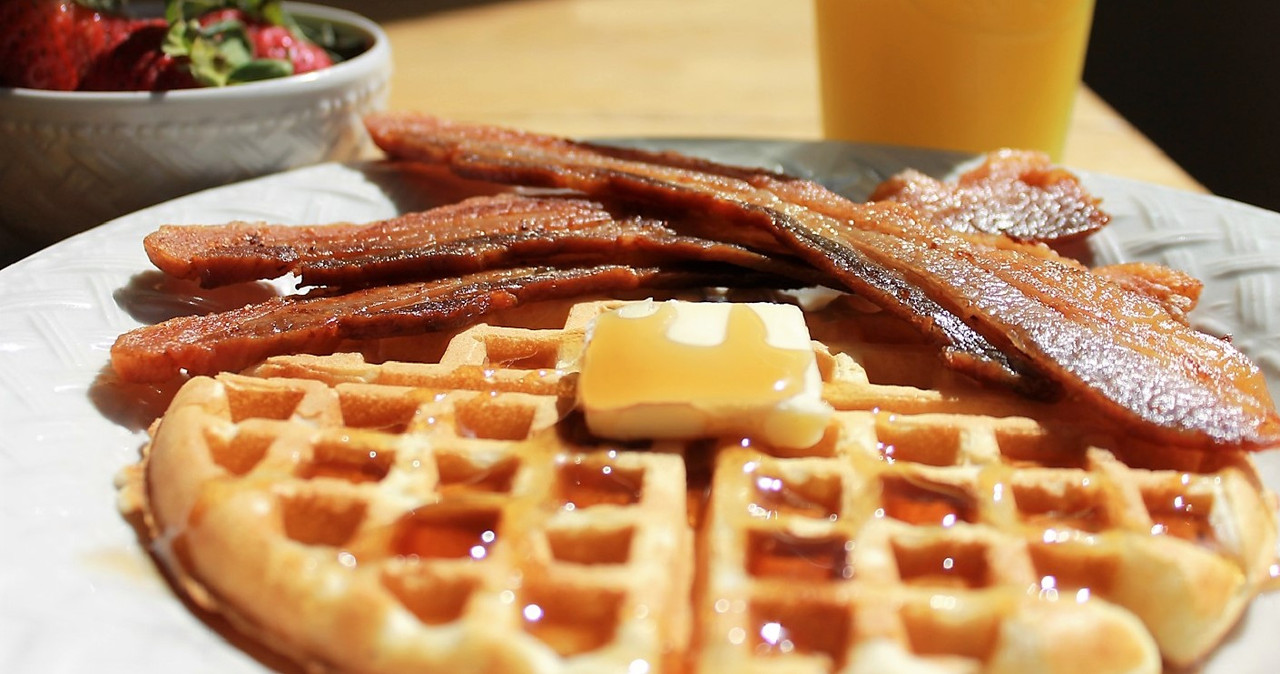 Sugar Free Uncured Bacon on waffles