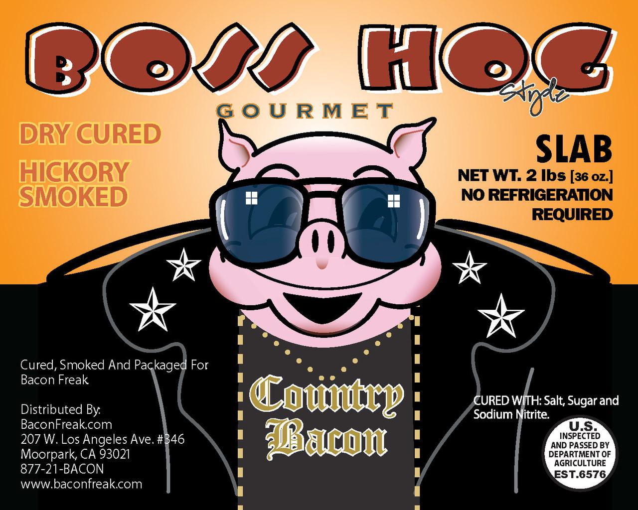 Boss Hog Hickory Smoked Unsliced Slab Bacon - 2 Pounds