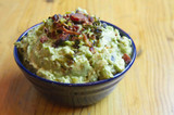 Guacamole With Bacon, Grilled Ramps (Or Green Onions) And Roasted Tomatillo