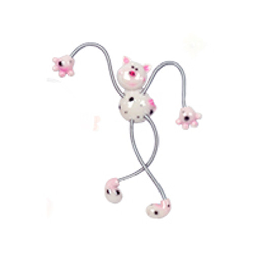 White Spotted Piggy Springy Magnet