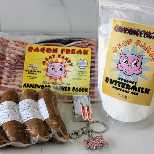 Bacon Freak Applewood Smoked Bacon, Mountain Smokehouse Smoked Cajun Style Sausages, Bacon Freak Gourmet Buttermilk Pancake mix, Pink Piggy Bling Keychain, Bacon Strip Earrings