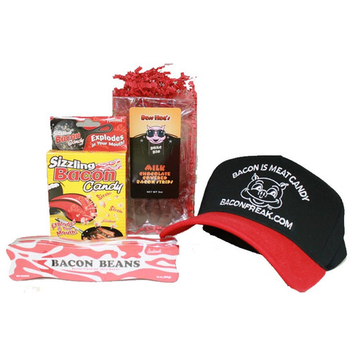 Bacon is Meat Candy cap, Chocolate covered bacon 3 oz., Sizzling bacon candy, Bacon Beans and Bacon Mints