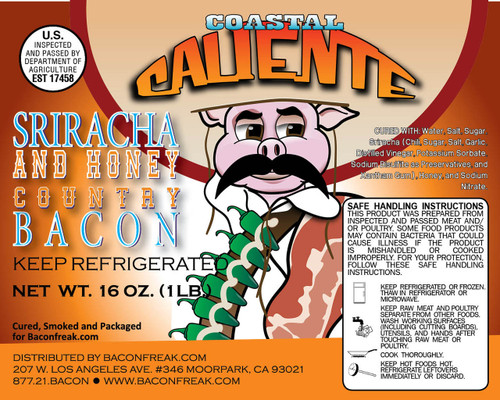 Coastal Caliente Sriracha Honey Label